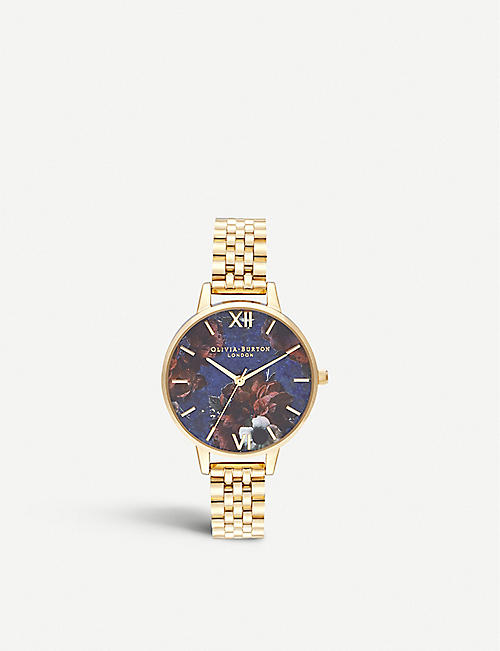 OLIVIA BURTON: OB16SP13 Semi-precious yellow gold-plated and lapis lazuli watch