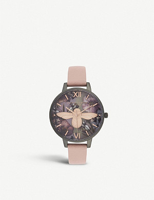 OLIVIA BURTON OB16TW02 Twilight Demi stainless steel, mother-of-pearl and leather strap watch