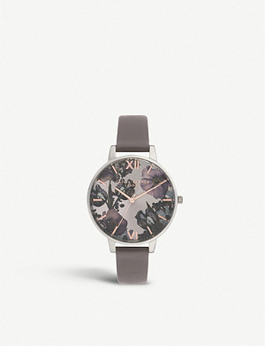 OLIVIA BURTON OB16TW05 Twilight stainless steel and leather strap watch