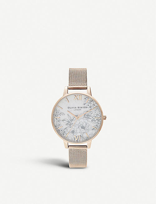 OLIVIA BURTON: Terrazzo Florals quartz rose gold-plated stainless-steel watch