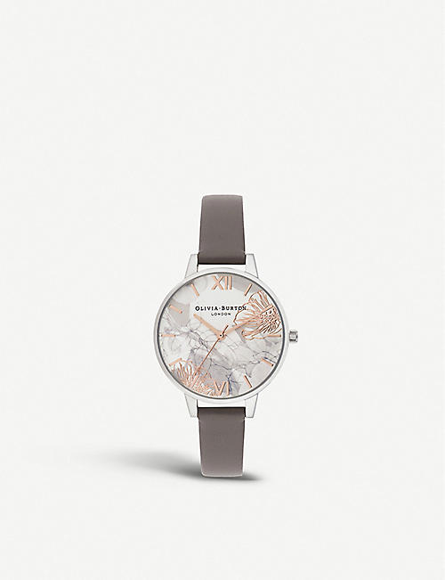 OLIVIA BURTON: OB16VM32 Abstract Florals stainless steel and leather watch