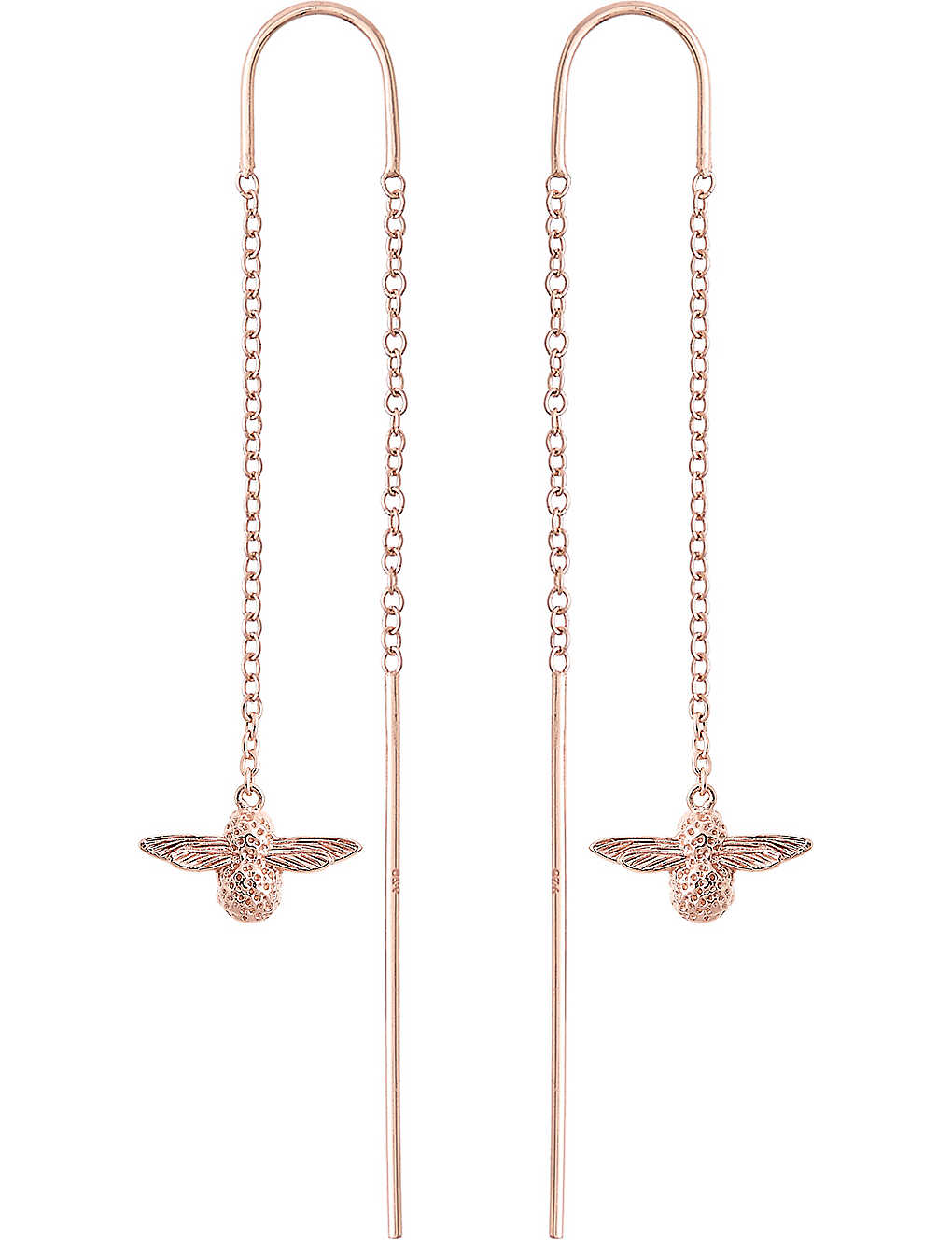fa20d8cae OLIVIA BURTON - Bee chain 18ct rose gold-plated drop earrings ...