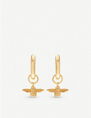 OLIVIA BURTON: 3D Bee gold-plated sterling-silver earrings