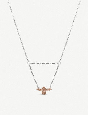 OLIVIA BURTON Queen Bee Drop rose gold-plated necklace