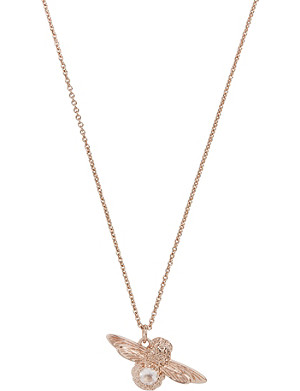 OLIVIA BURTON Bee 18ct rose-gold and rose quartz gemstone necklace