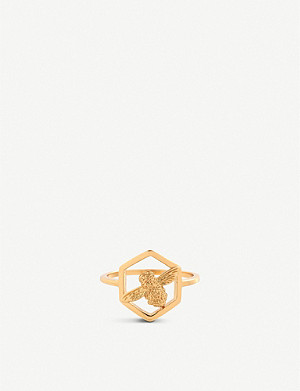 OLIVIA BURTON Honeycomb Bee gold-plated ring