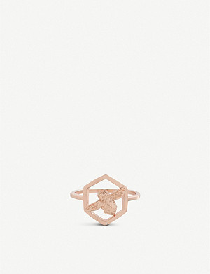 OLIVIA BURTON Honeycomb Bee rose gold-plated ring