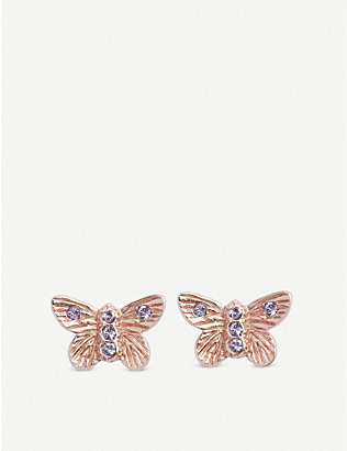 OLIVIA BURTON: Bejewelled Butterfly rose gold-plated stud earrings