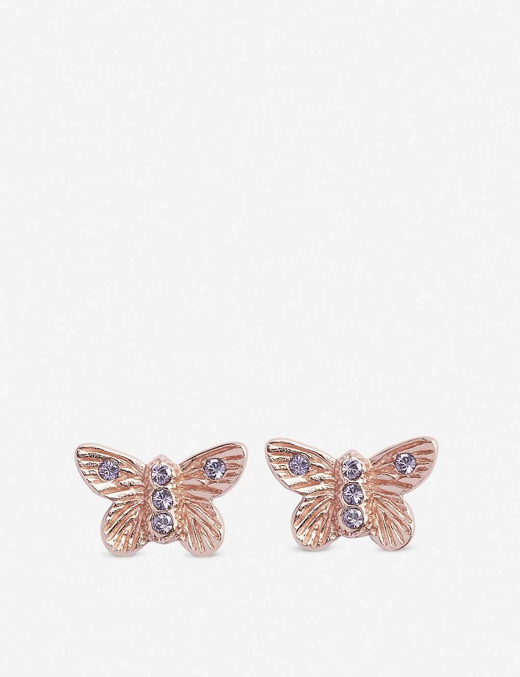 fc9b5eec47025 Bejewelled Butterfly rose gold-plated stud earrings