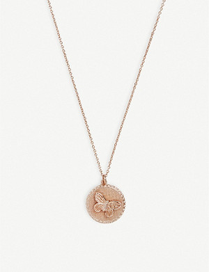 OLIVIA BURTON 3D Butterfly Disc rose gold-plated necklace