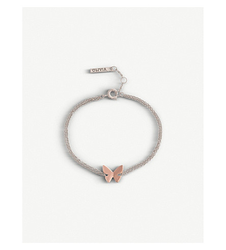 0c266072499c2 OLIVIA BURTON Social Butterfly silver and 18ct rose gold-plated bracelet
