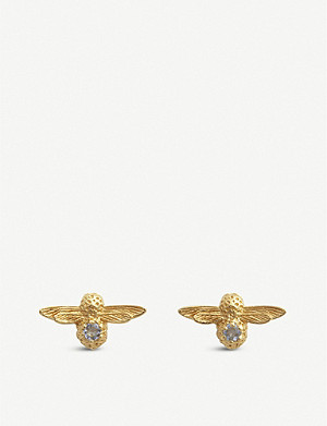 OLIVIA BURTON Celebration yellow-gold plated sterling silver and zircon earrings