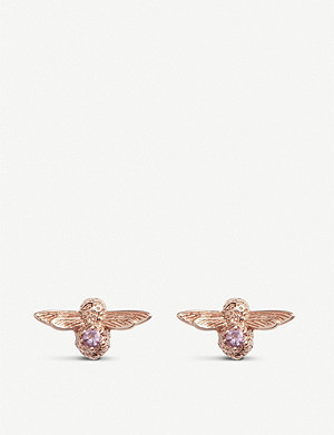 OLIVIA BURTON Bejewelled bee 18ct rose-gold and amethyst stud earrings