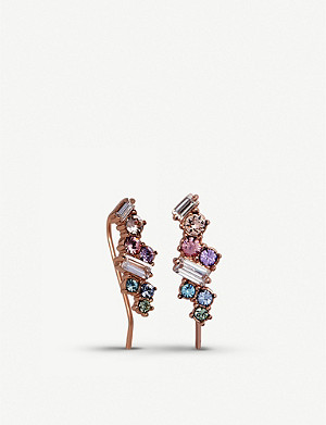 OLIVIA BURTON Rainbow Bee 3D rose gold stud and crawler earrings
