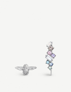 OLIVIA BURTON Rainbow Bee silver stud and crawler earrings