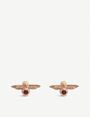 OLIVIA BURTON Celebration rose-gold plated sterling silver and garnet earrings
