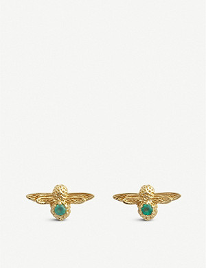 OLIVIA BURTON Celebration yellow-gold plated sterling silver and agate earrings