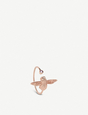 OLIVIA BURTON Bejewelled Bee 18ct rose-gold and amethyst ring
