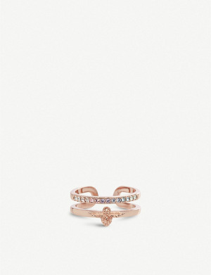 OLIVIA BURTON Rainbow Bee 18ct rose-gold and Swarovski crystal ring