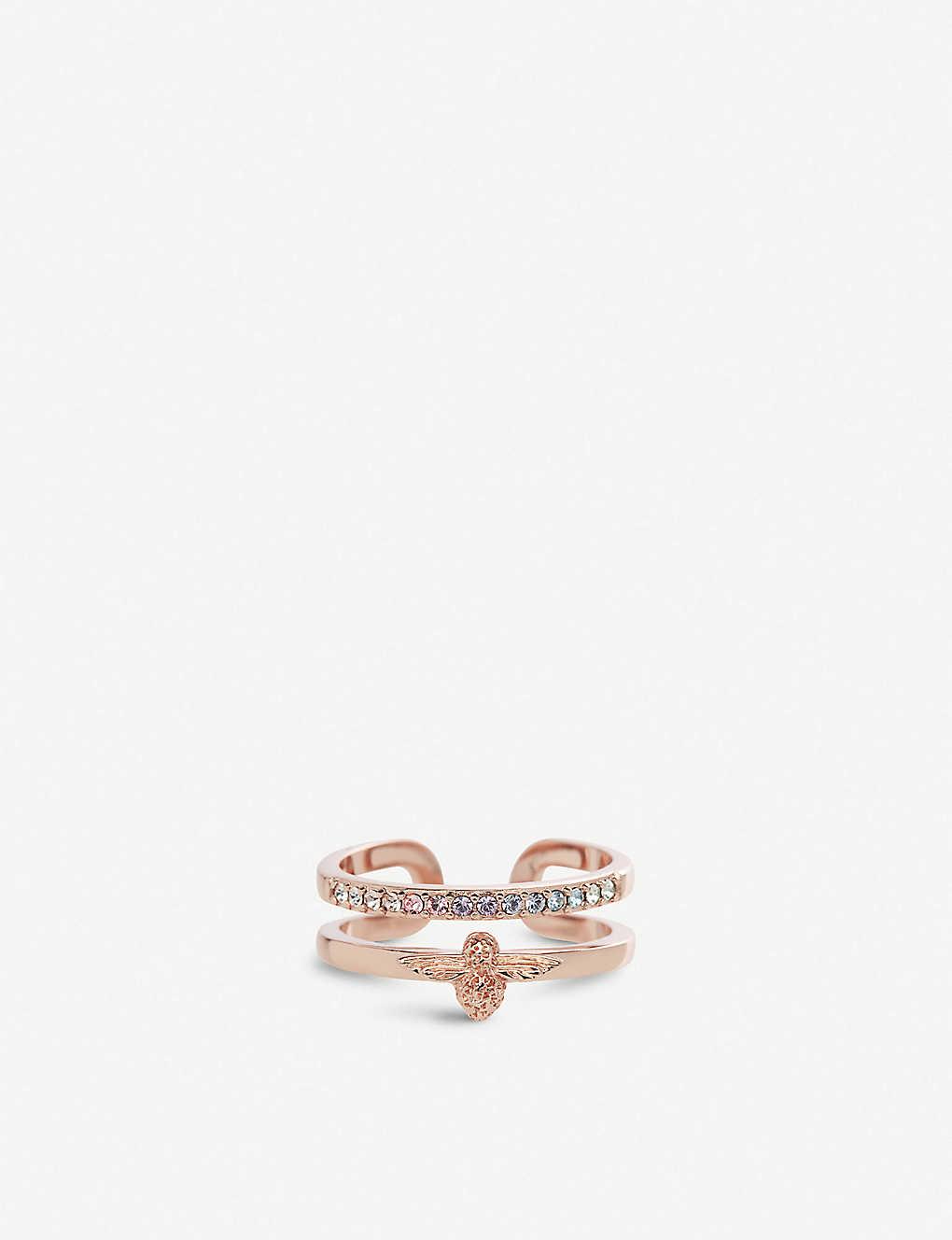 30fea7a34 OLIVIA BURTON - Rainbow Bee 18ct rose-gold and Swarovski crystal ...