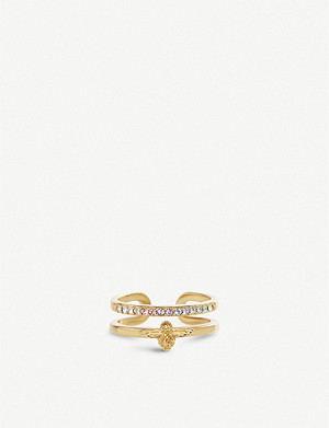 OLIVIA BURTON Rainbow Bee 18ct gold and Swarovski crystal ring