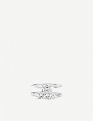 OLIVIA BURTON: Celestial double-band yellow-gold ring