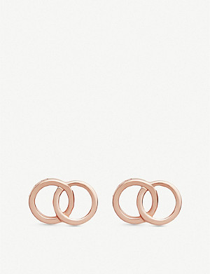 OLIVIA BURTON The Classics Interlink rose gold-plated sterling silver earrings
