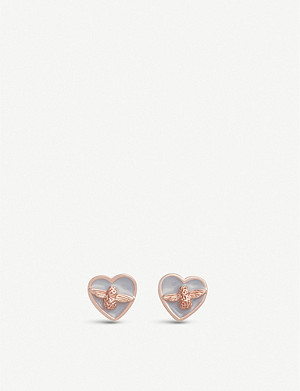 OLIVIA BURTON Love Bug gold plated and enamel stud earrings