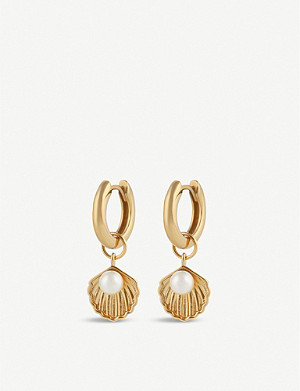 OLIVIA BURTON Under the Sea shell charm gold-plated huggie earrings
