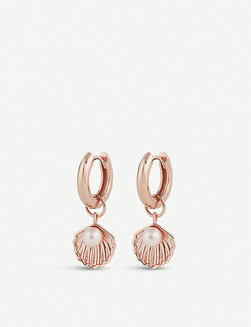 OLIVIA BURTON Under the Sea shell charm rose gold-plated huggie earrings