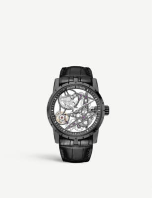 ROGER DUBUIS RDDBEX0473 Excalibur titanium tourbillon leather strap watch