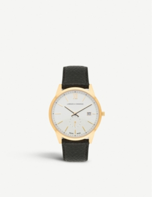 LARSSON & JENNINGS SAX39LCQBGWS Saxon 18ct gold-plated and leather watch