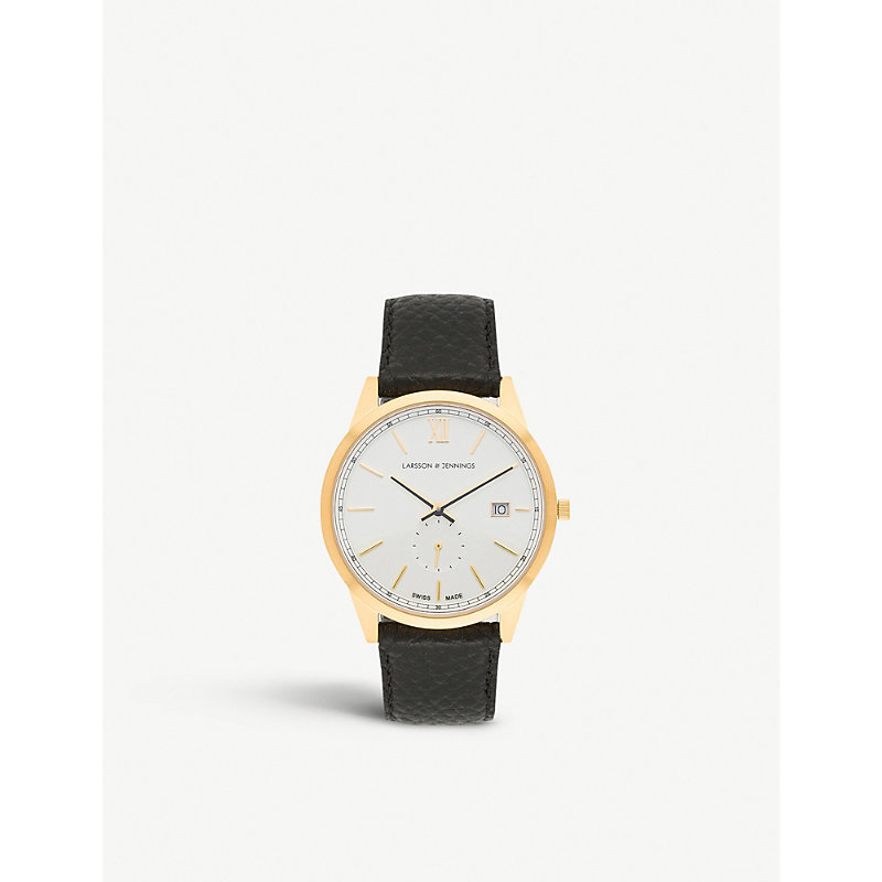 LARSSON & JENNINGS | SAX39LCQBGWS Saxon 18ct Gold-Plated And Leather Watch | Goxip