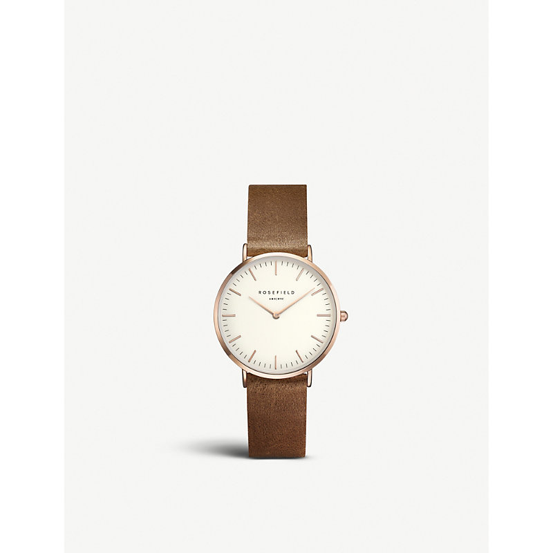 ROSEFIELD Twbrrc-T55 Tribeca Stainless Steel Leather Strap Watch in Brown/ White/ Rose Gold