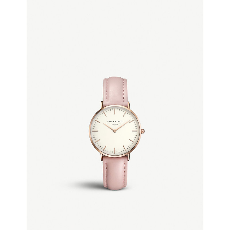ROSEFIELD Twpr-T58 Tribeca Rose-Gold And Leather Watch in Pink/ White/ Rose Gold