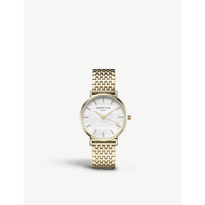 ROSEFIELD Uewg-U21 The Upper East Side Gold-Plated Watch in Gold/ White Pearl/ Gold