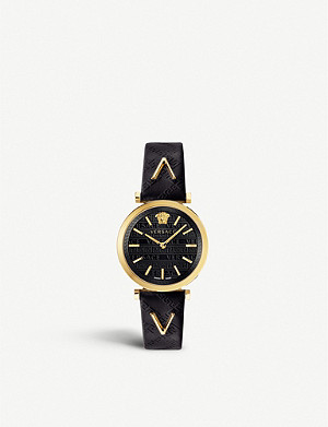 VERSACE VELS00619 V-Twist gold-toned stainless steel and leather watch