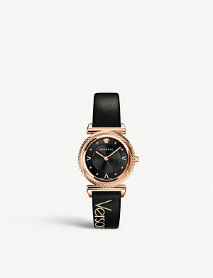 VERSACE VERE00818 V-Motif rose gold-plated stainless steel and leather watch