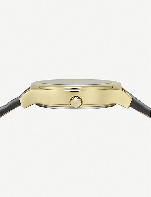 VERSUS VSP560318 Mount Pleasant yellow gold-plated and leather strap watch