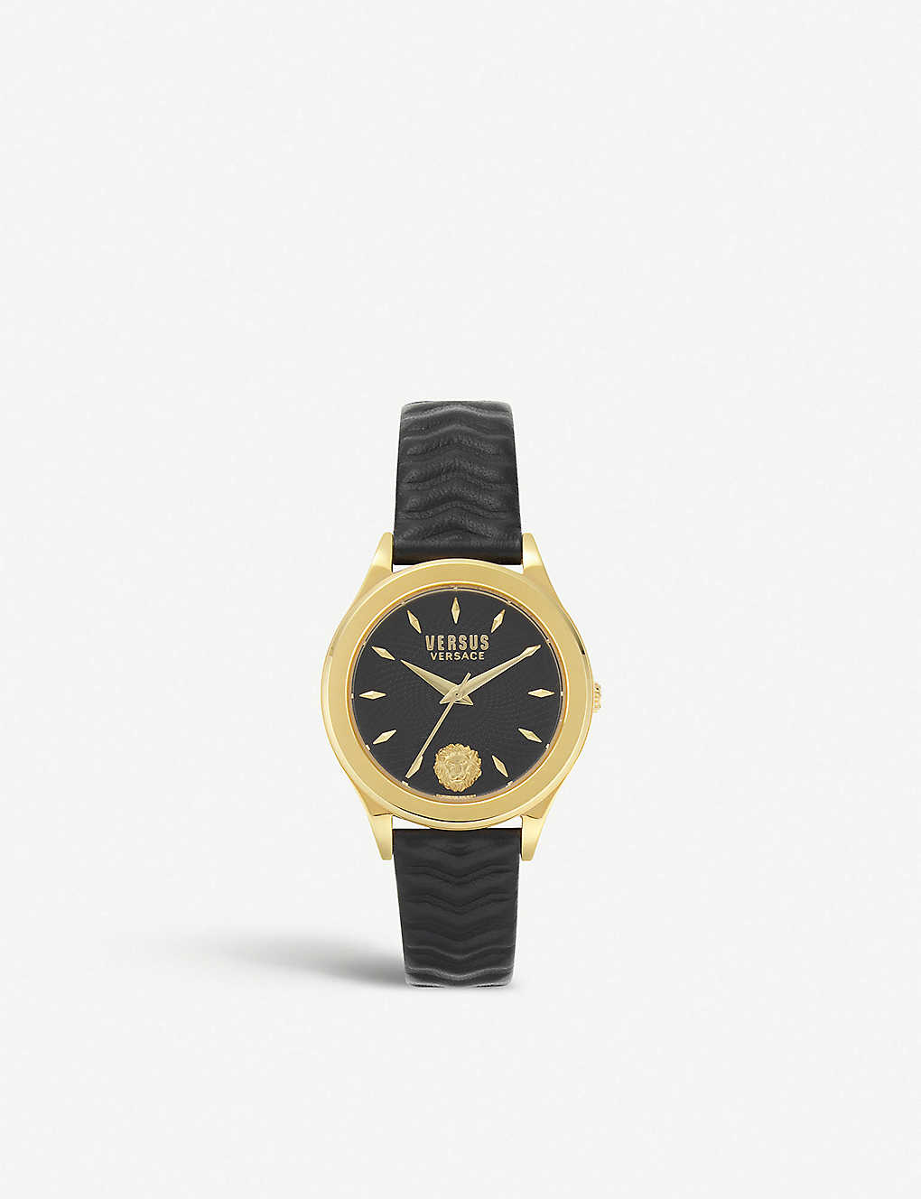 VERSUS: VSP560318 Mount Pleasant yellow gold-plated and leather strap watch