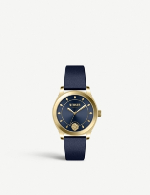 VERSUS VSPBU0318 Durbanville yellow-gold plated stainless steel and leather watch