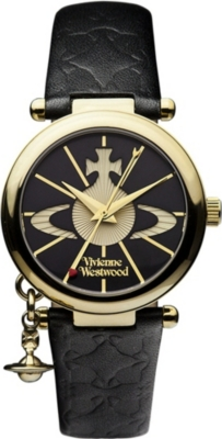 VIVIENNE WESTWOOD VV006BKGD Orb II gold-plated and leather watch