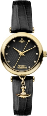 VIVIENNE WESTWOOD VV108BKBK stainless steel and leather watch
