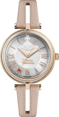 VIVIENNE WESTWOOD VV168SLPK Farringdon stainless steel and leather watch