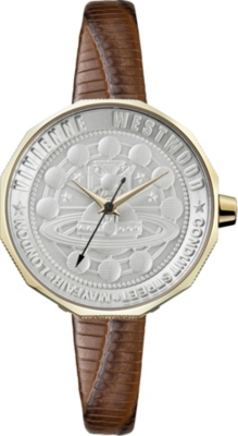 VIVIENNE WESTWOOD VV171GDBR Edgeware stainless steel, PVD gold-plated and leather watch