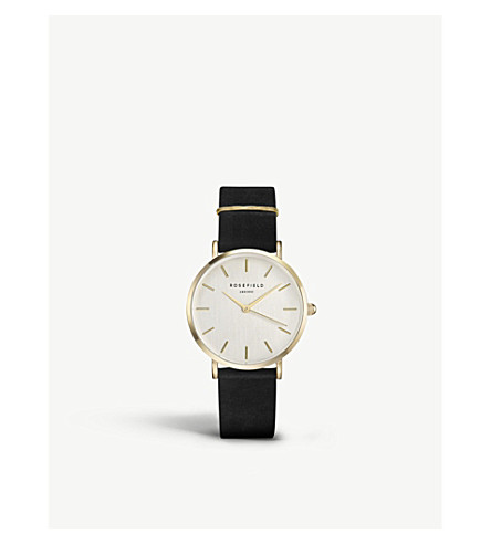 ROSEFIELD Wblg-W71 The West Village Leather And Gold-Plated Watch in Black