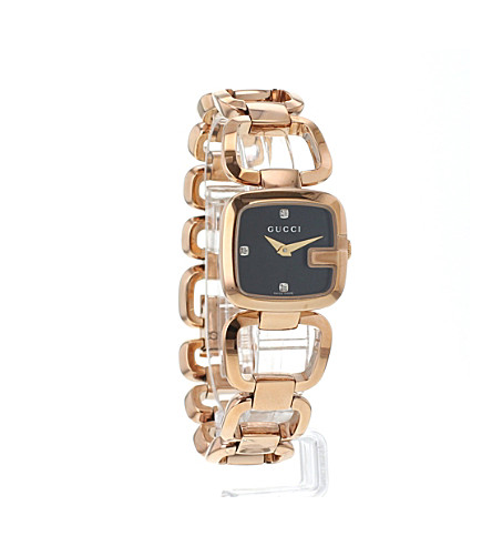 3a57931dcff ... YA125512 G-Gucci Collection pink-gold PVD watch - Black