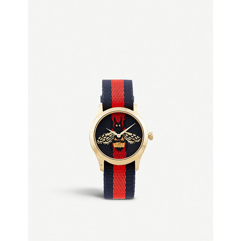 GUCCI   YA1264061 G-Timeless Yellow Gold-Plated Stainless Steel And Canvas Watch   Goxip