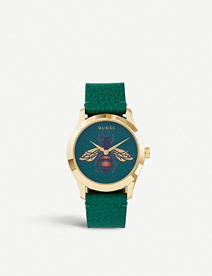 GUCCI YA1264065 G-Timeless gold PVD and leather watch