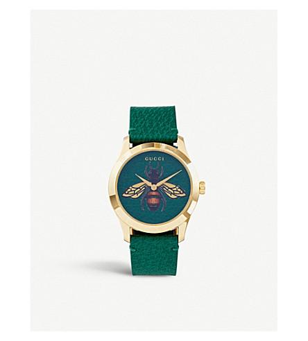 8b0cca753b5 GUCCI - YA1264065 G-Timeless gold PVD and leather watch